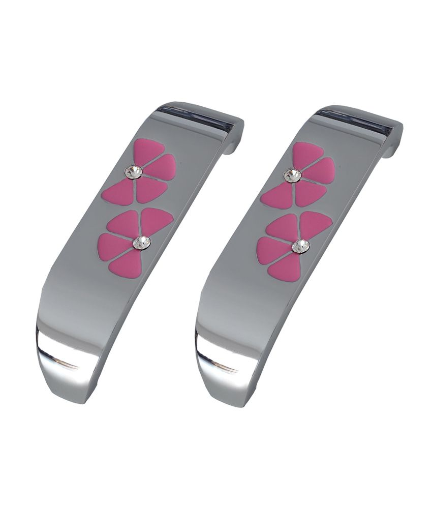 Cabinet Handles in Pink with Chrome Finished-96 mm (Pack of 2)