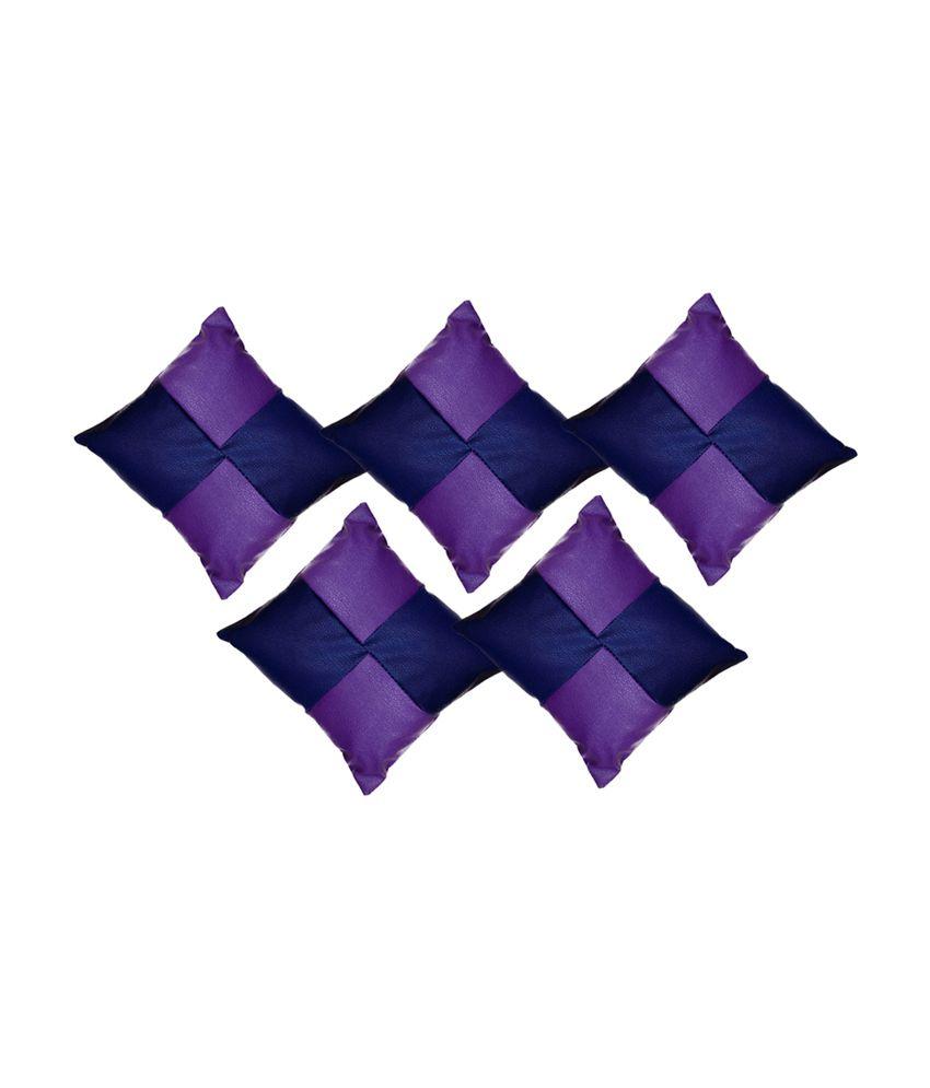 Click Shoppe Blue And Purple Leather Cushion