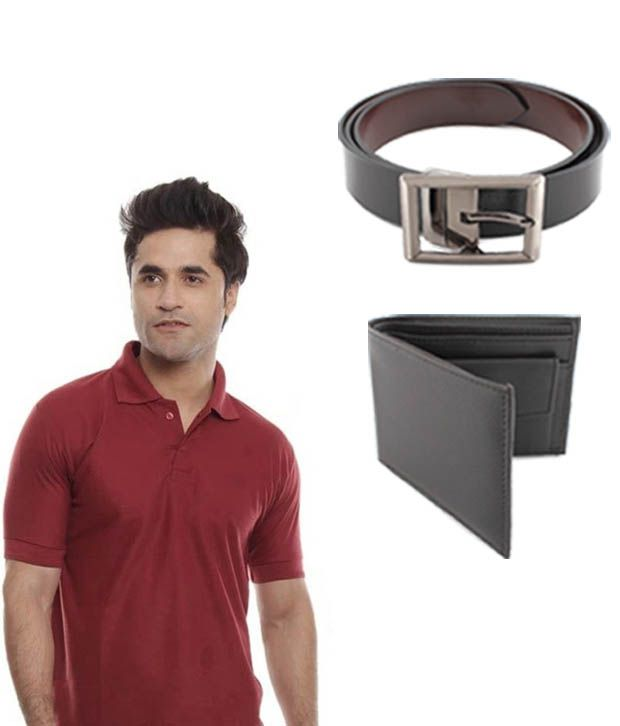 Keepsake Maroon T Shirt, Wallet And Belt Combo