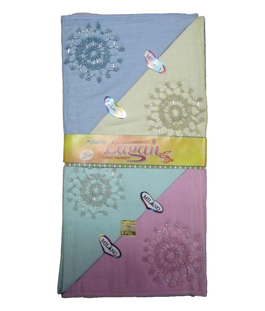 Milano Multicolor Cotton Handkerchief - 12 Piece Pack