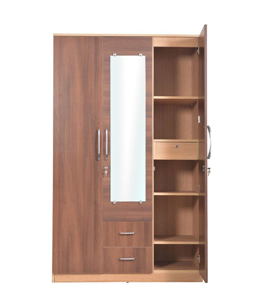 Welkraft Compressed Wood Brown Finish Wardrobes In Multi