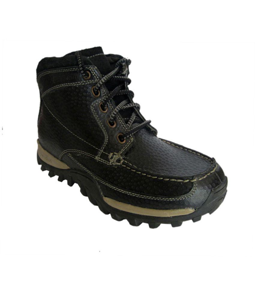 Woodland Black Faux Leather Men's Boot