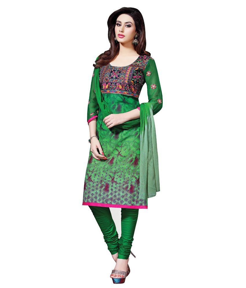 Colors lifestyle green coloured embroidered cotton