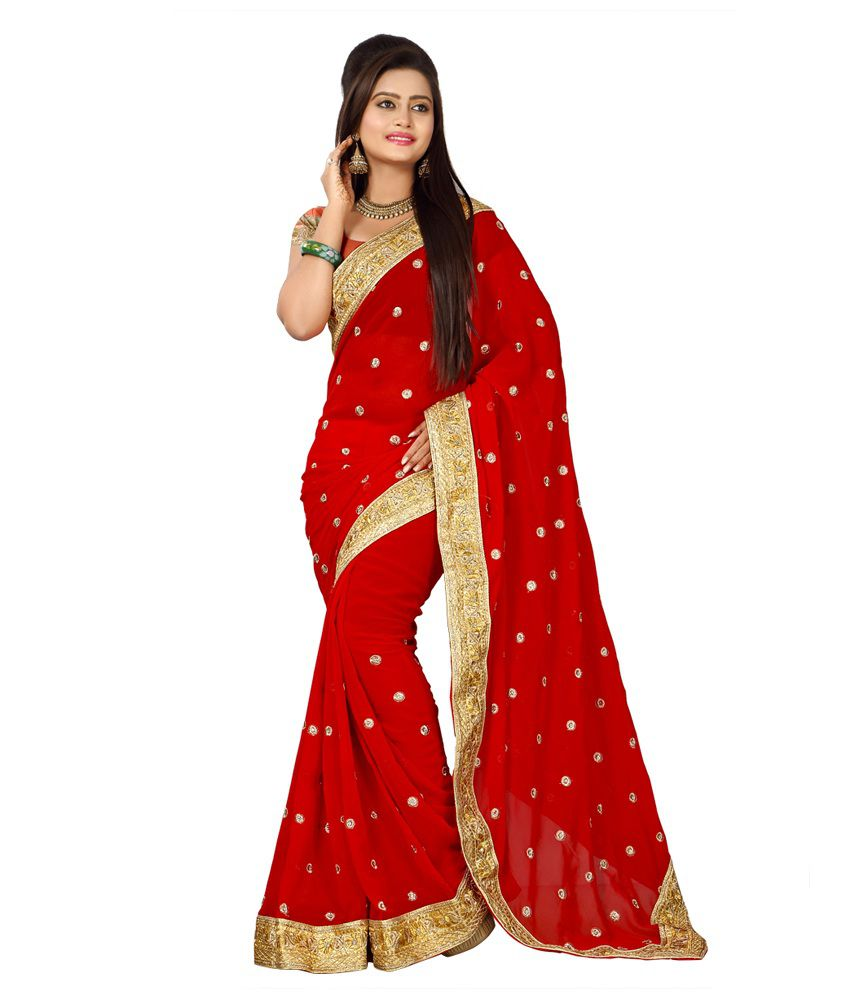 Maanya Tex Red Georgette Party Wear Saree With Blouse Piece
