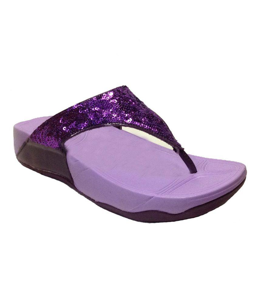 Wsl Rocks Purple V Strap Ladies Flip Flops