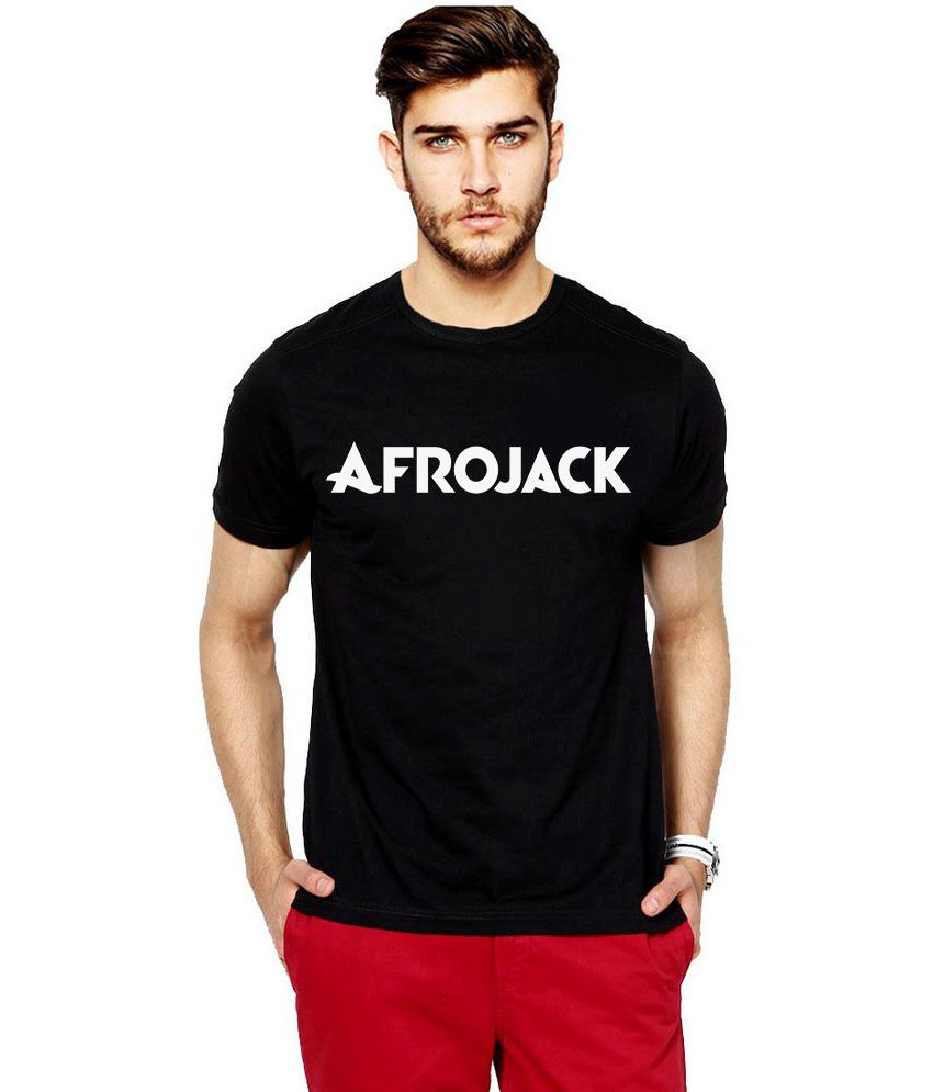 iLyk Men's  Afrojack Printed Black T-Shirt