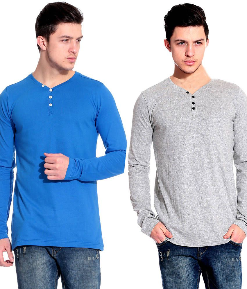 Lemon And Vodka Mens Full Sleeve Solid Tshirt Combo Pack Of 2