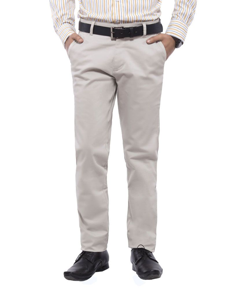 Taboo Beige Cotton Lycra Regular Fit Casual Chinos