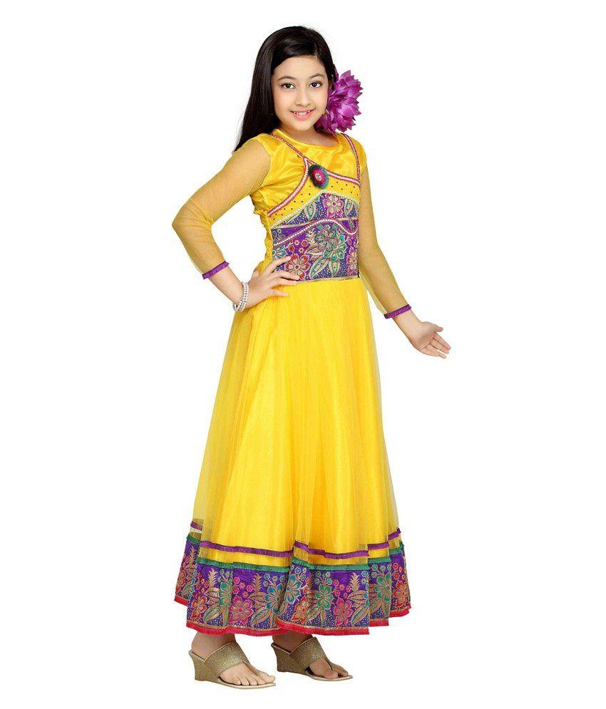 Aarika Yellow Party Wear Gown For Kids Buy Aarika Yellow Party
