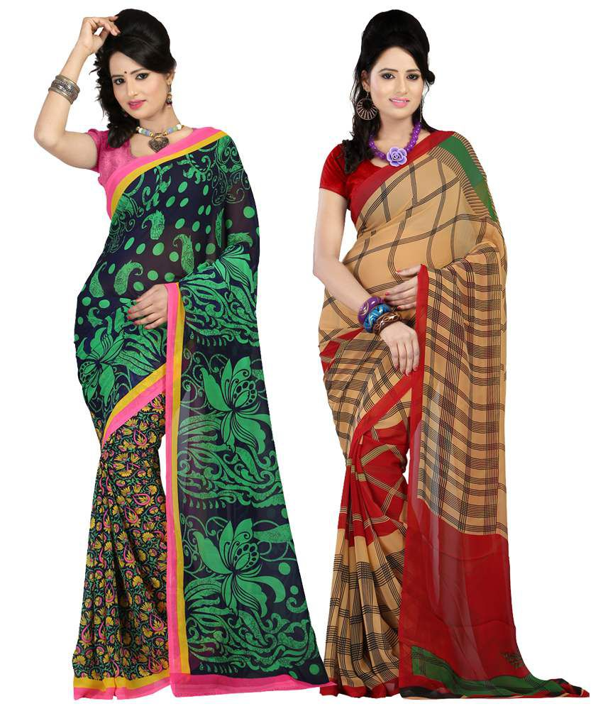 Bunny Sarees Faux Georgette Multi Color Sarees (pack Of 2)