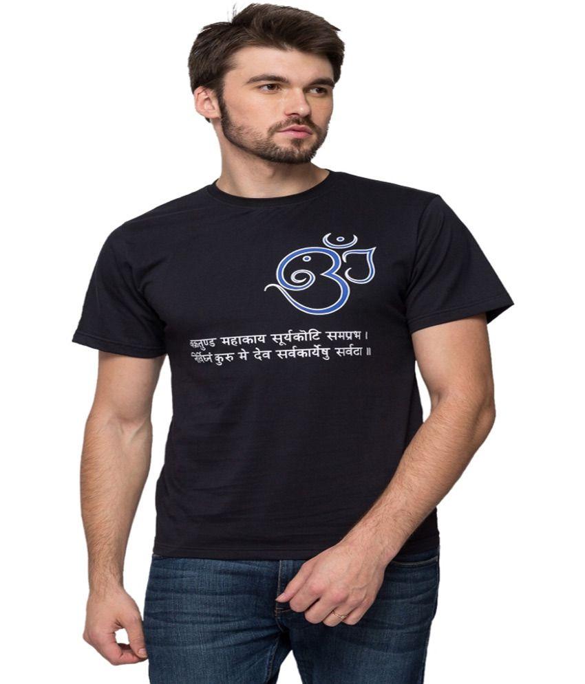Anveshana Retail Black Cotton Round Neck Printed T Shirt