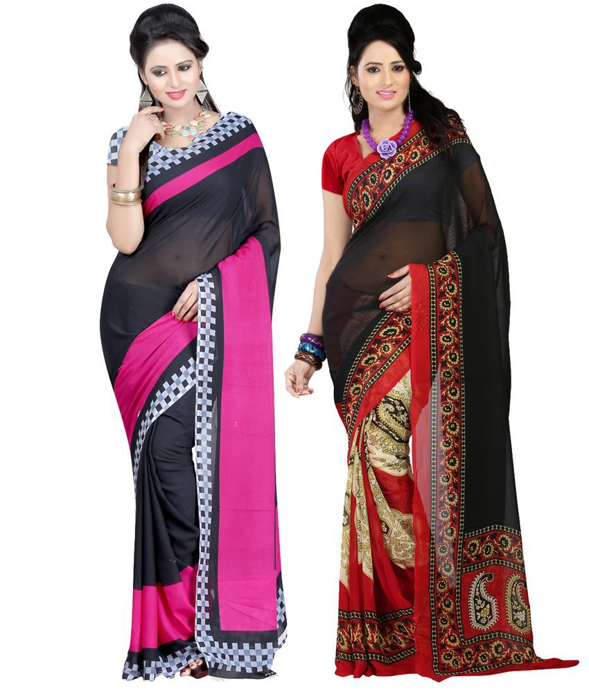 Bunny Sarees Pack Of 2 Faux Georgette Multi Color Sarees