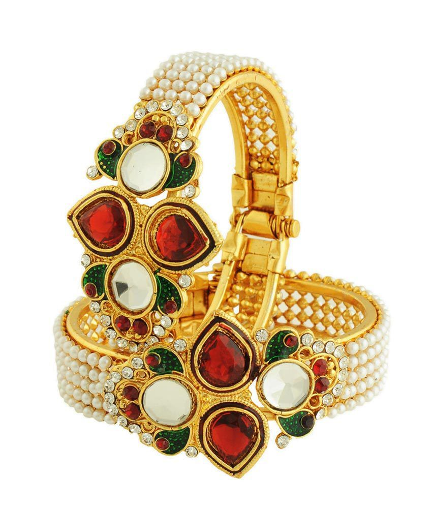 Luxor Green Meenkari With Red Kundan Kada Set
