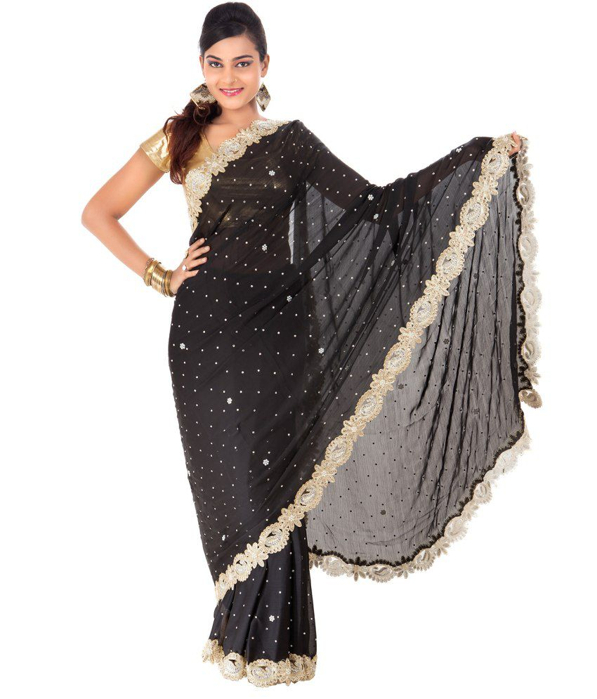 Celebez Black Satin Saree