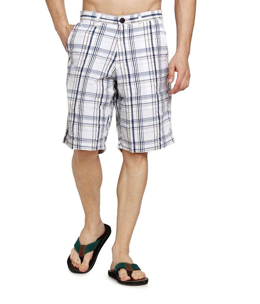 Cotton World Men Navy Casual Check Basic Shorts