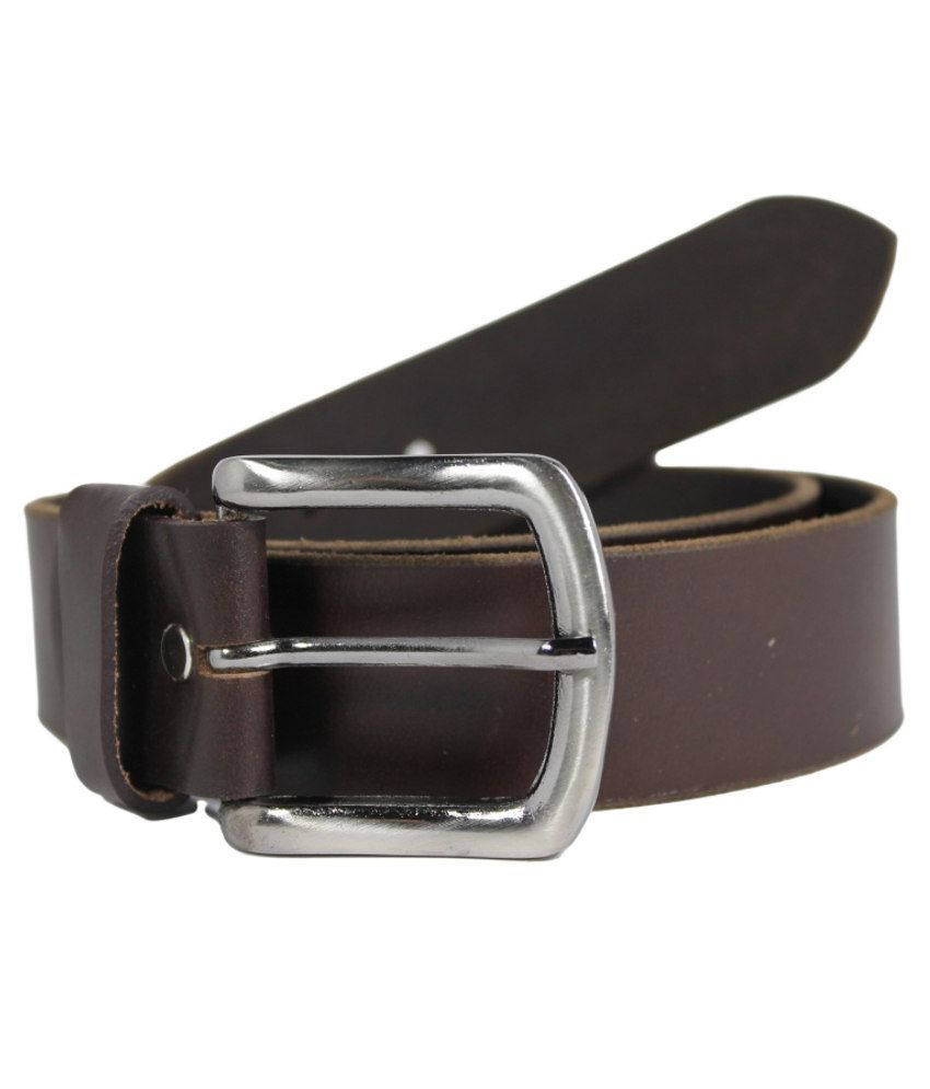 Smooth Brown 100% Genuine Authentic Leather Belt with Rough Edges - Waist Size 36