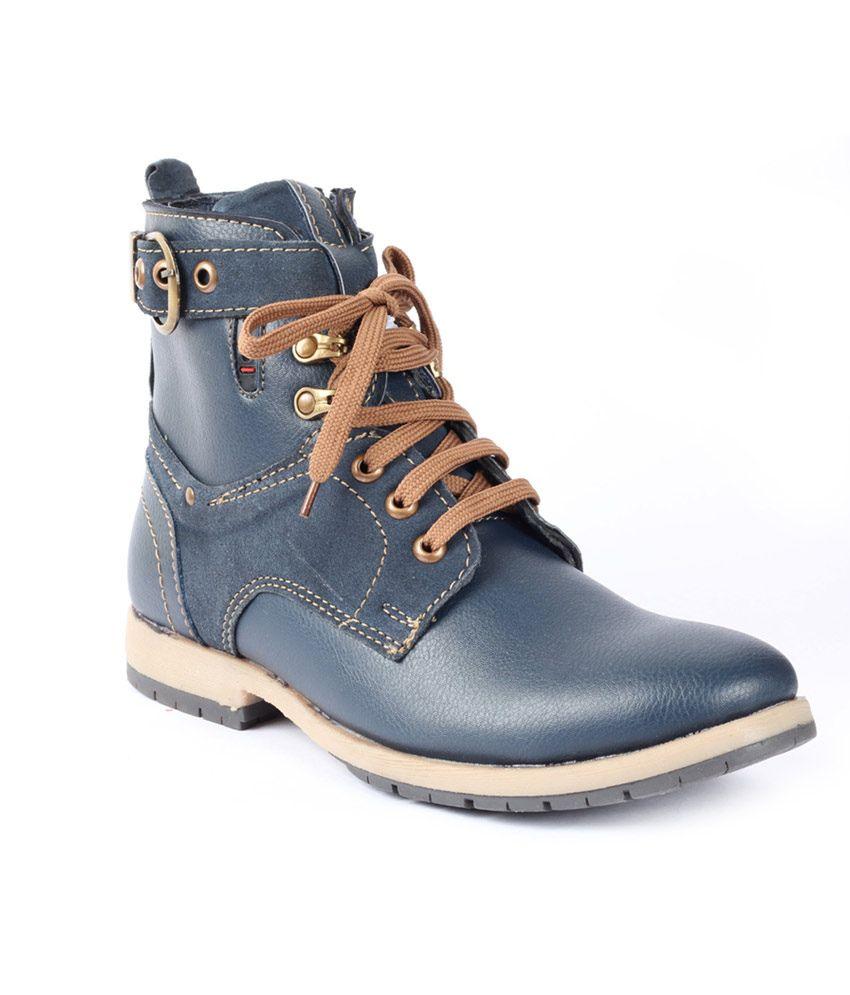 Moladz Blue Faux Leather Boot