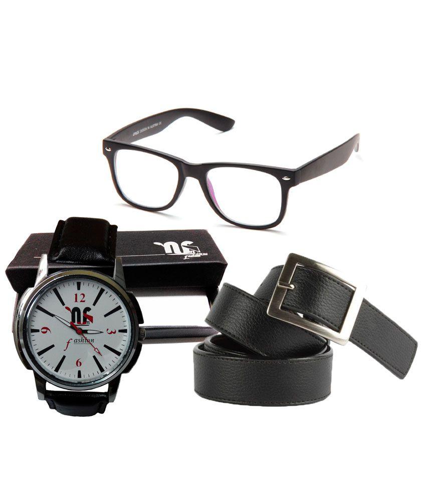 Nimya Combo Of Leather Belt, Wayfarer Sunglass And Watch