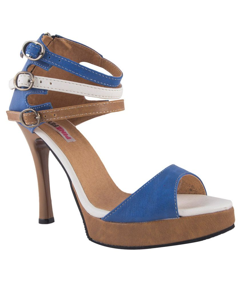 Pink Fever Blue Stiletto High Heel Faux Leather Heeled Slip-on