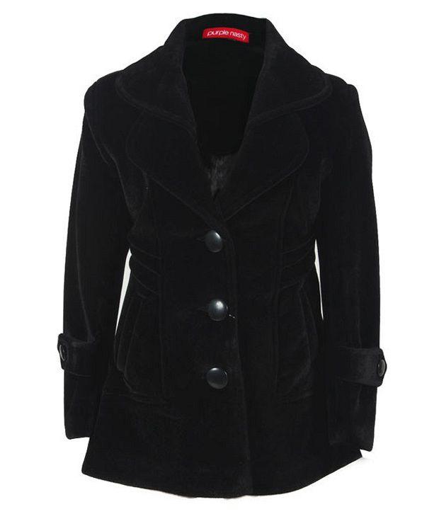 Purple Nasty Black Woollen Coat