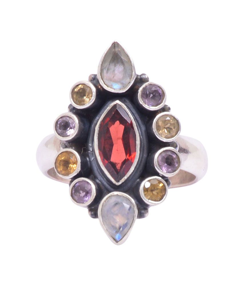 Rubera Sterling Silver Ring With Rainbow Moonstone And Garnet