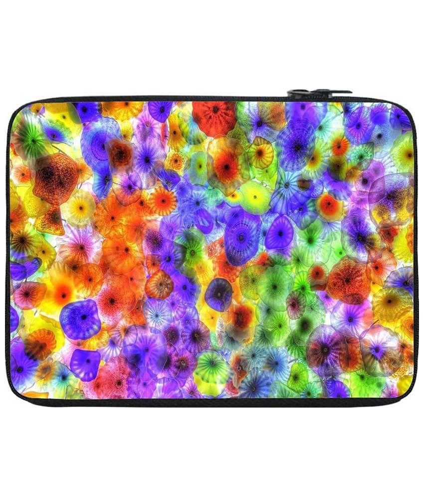Snoogg Purple & Orange Laptop Sleeve