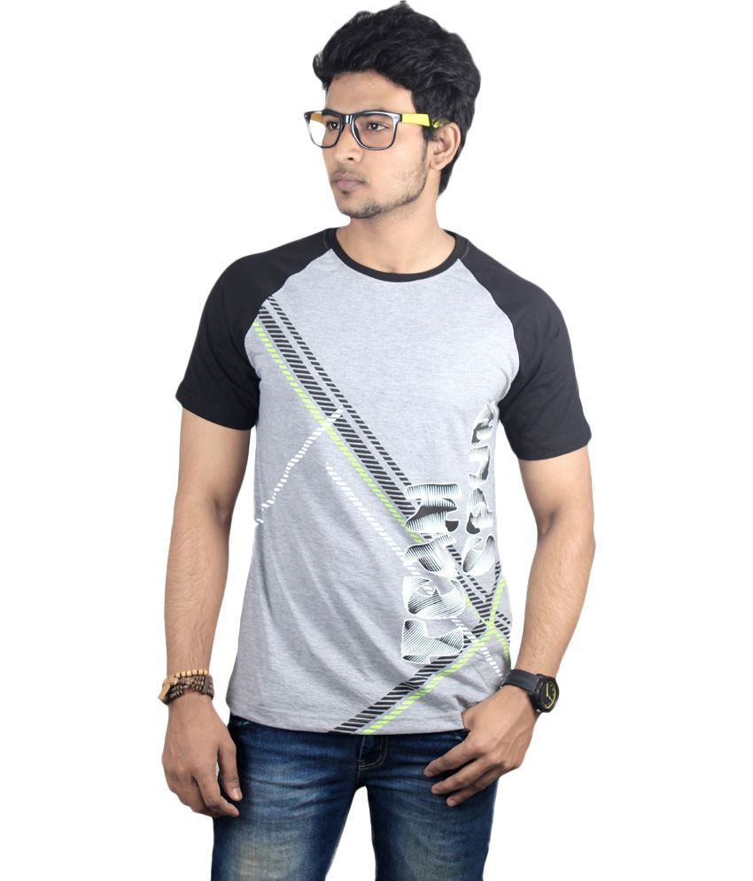 Spur Gray Cotton Round Neck Printed T-shirt