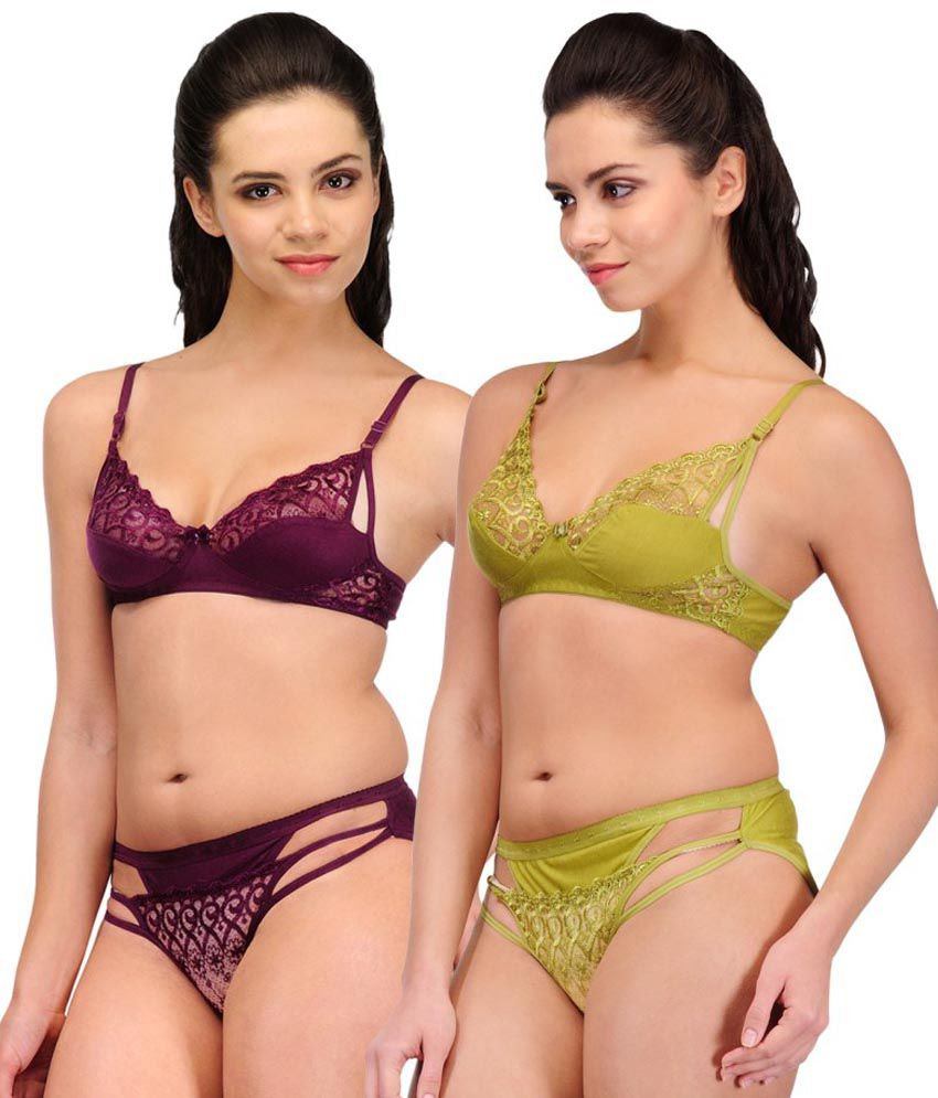2fa4e39ca7 Buy Urbaano Purple Lace Bra   Panty Sets Online at Best Prices in ...