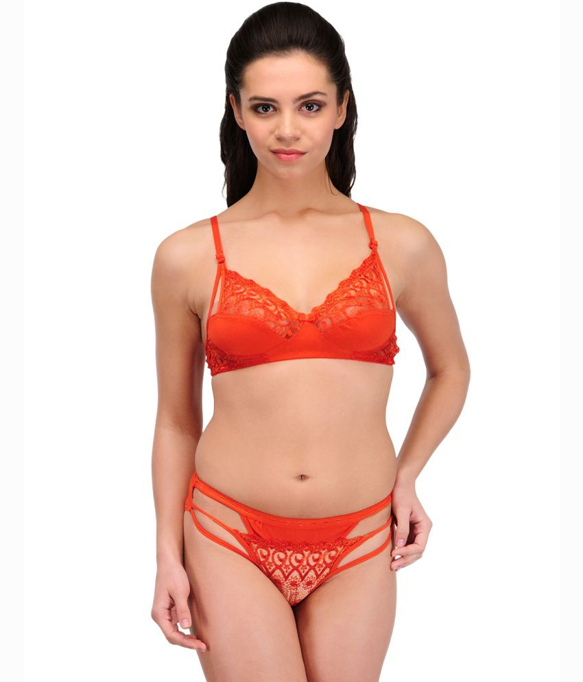 35966a7e7e Buy Urbaano Orange Lace Bra   Panty Sets Online at Best Prices in India -  Snapdeal