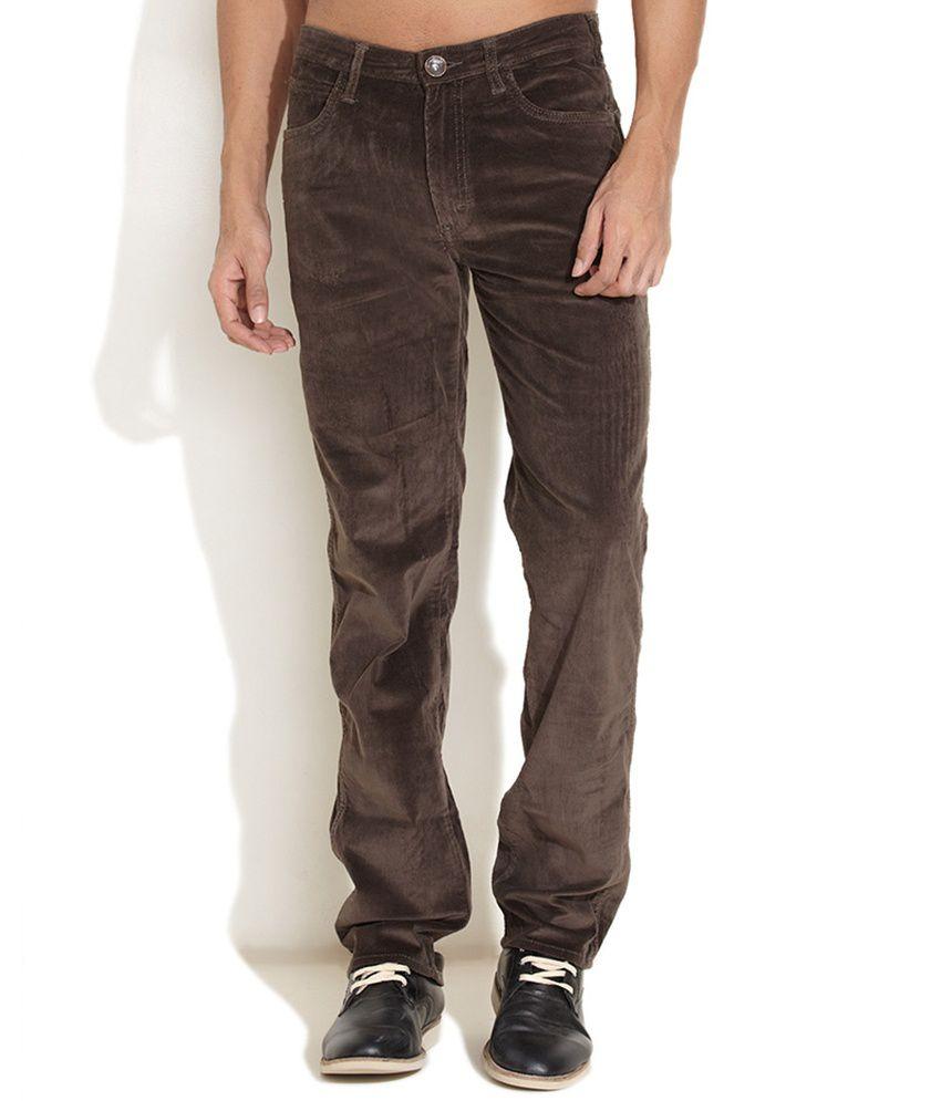 Wrangler Brown Slim Casuals Trouser