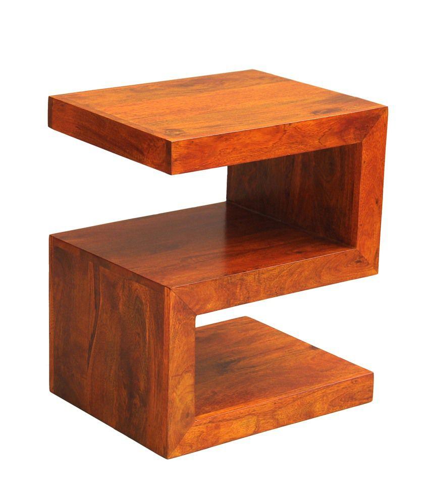 Buy 1 Junglewood Wood Honey Finish Side Table - Get 1 Free