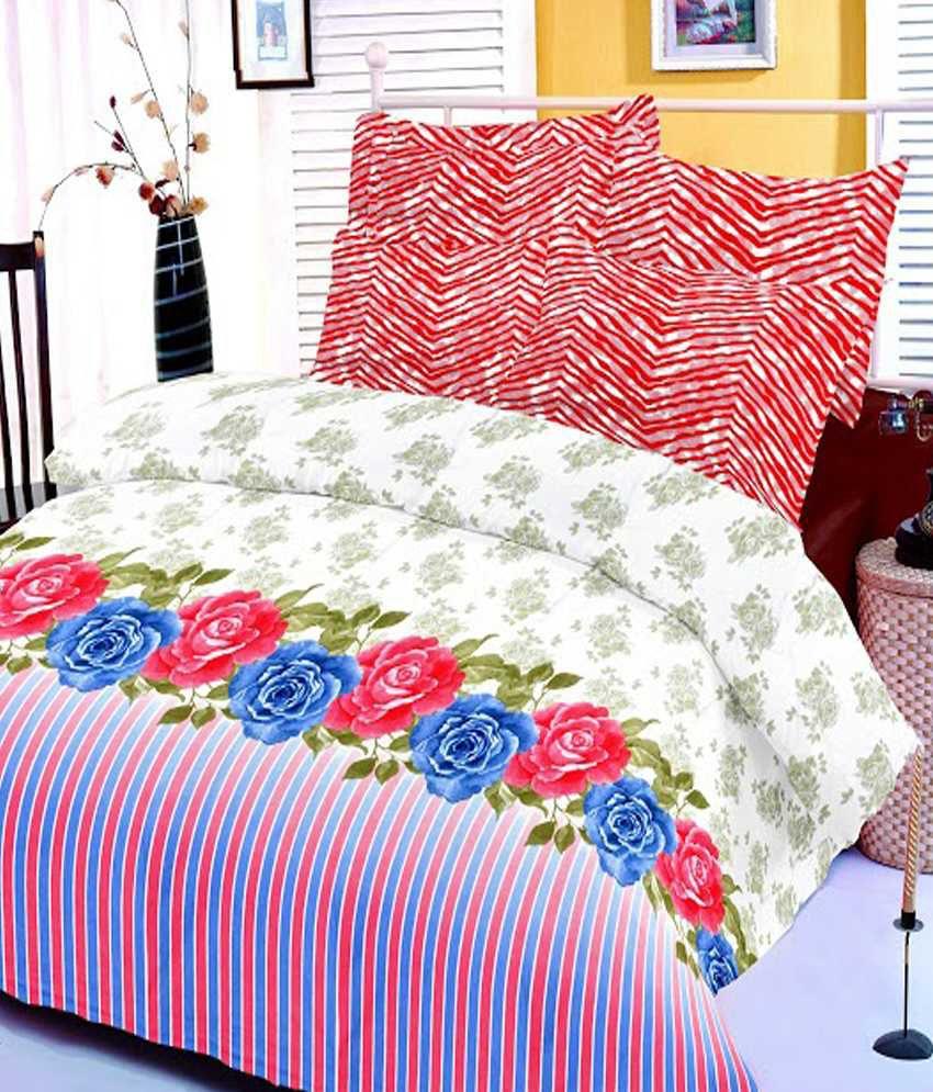 Casa copenhagen red blue printed cotton double bed sheet with 2 pillow covers buy casa - Casa copenaghen ...