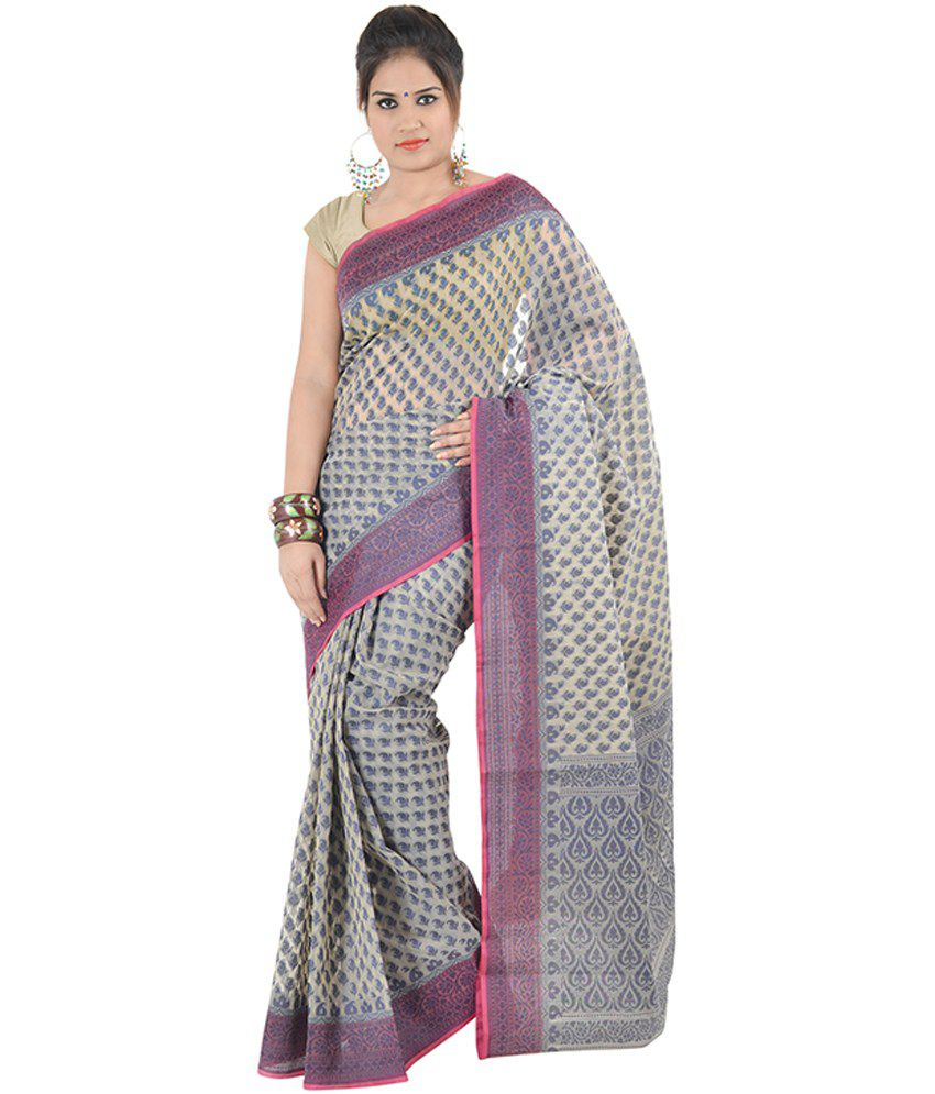 Indusdiva Banarasi Cream Kora Silk Saree