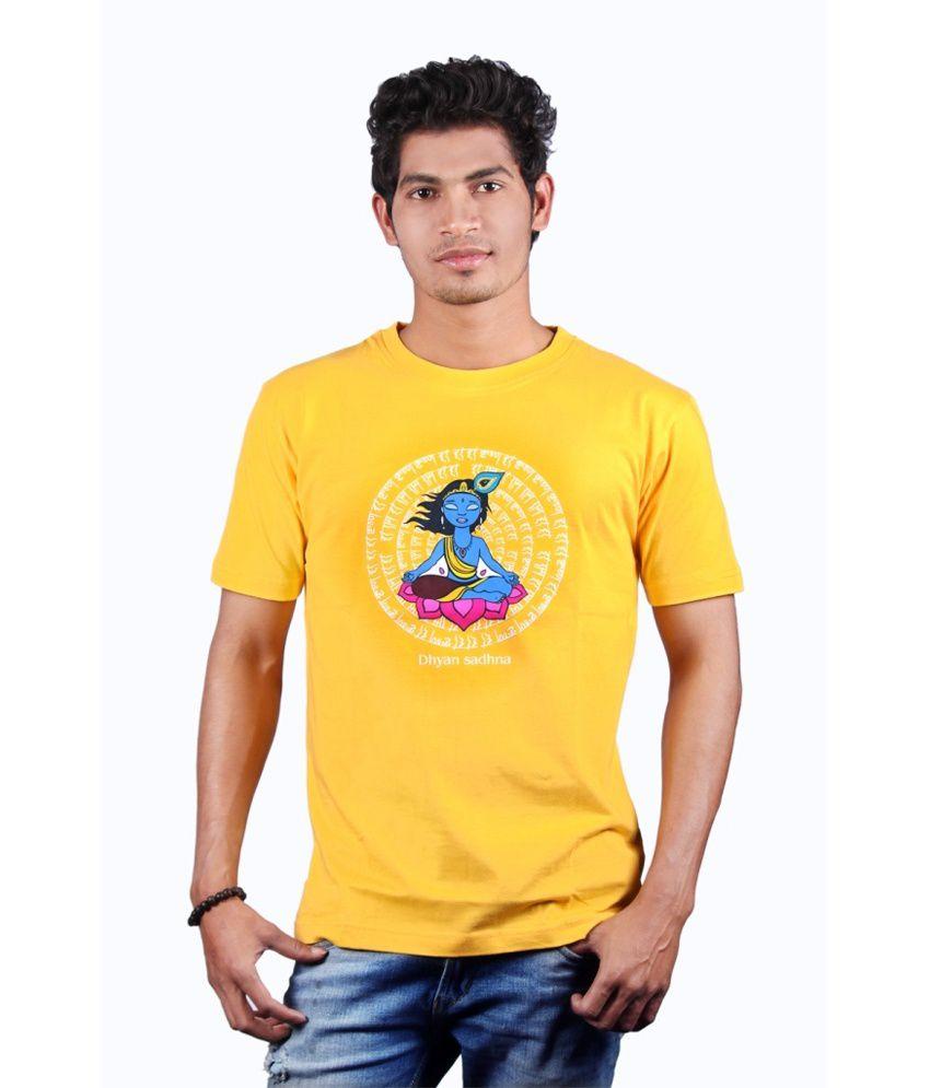 Omkar Arts Yellow Cotton Round Neck Basics T-shirt For Men's