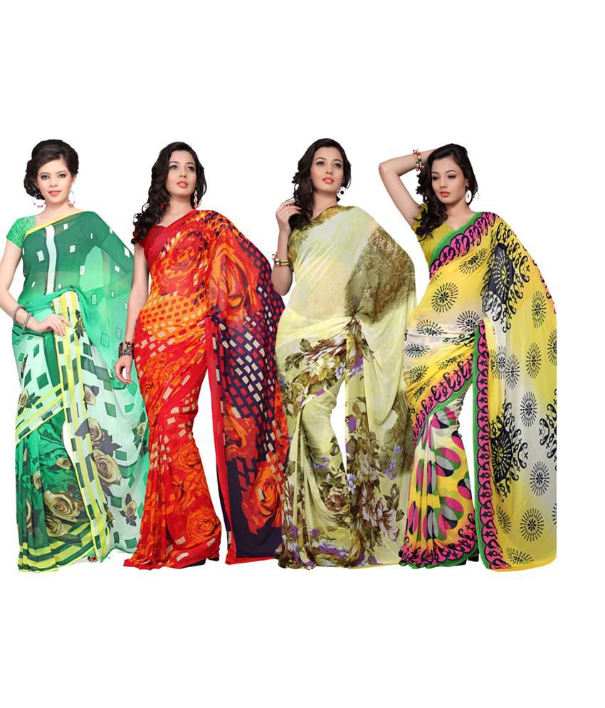 Variation Classic Georgette Saree Combo-pack Of 4