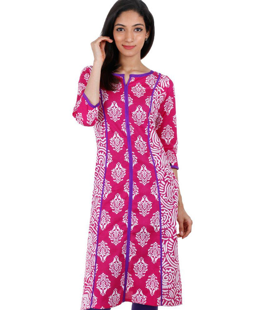 Estyle Pink Printed Long Cotton Kurta