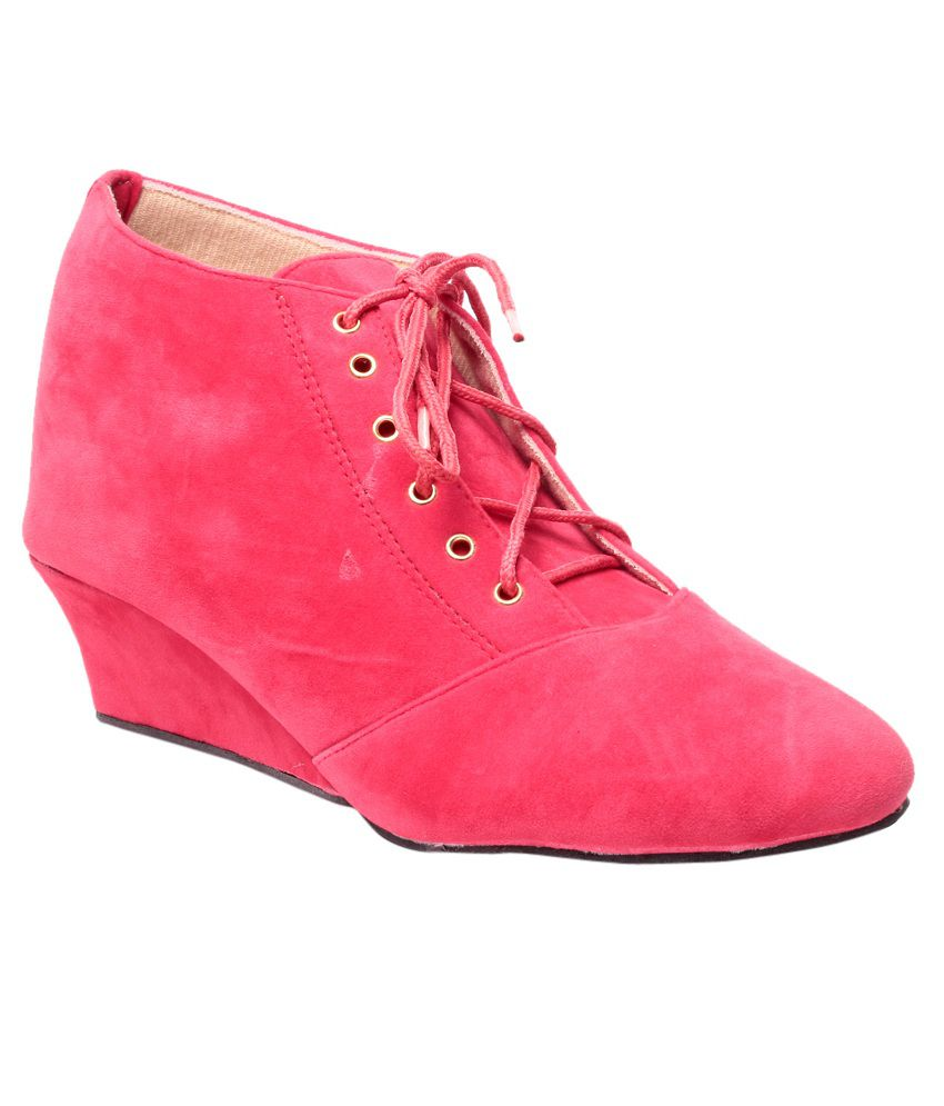 08291c75f09 Bluet Pink Wedges Boots Price in India- Buy Bluet Pink Wedges Boots Online  at Snapdeal