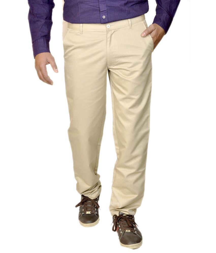 Smartshop123 Beige Poly Viscose Slim Fit Formal Trouser