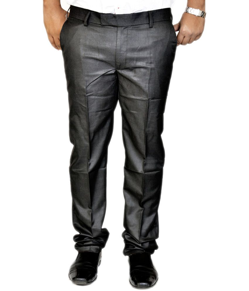 Smartshop123 Gray Poly Viscose Regular Fit Formal Trouser