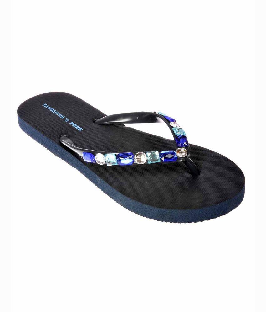 Tangerine Toes Blue Flat Slip-on & Sandal