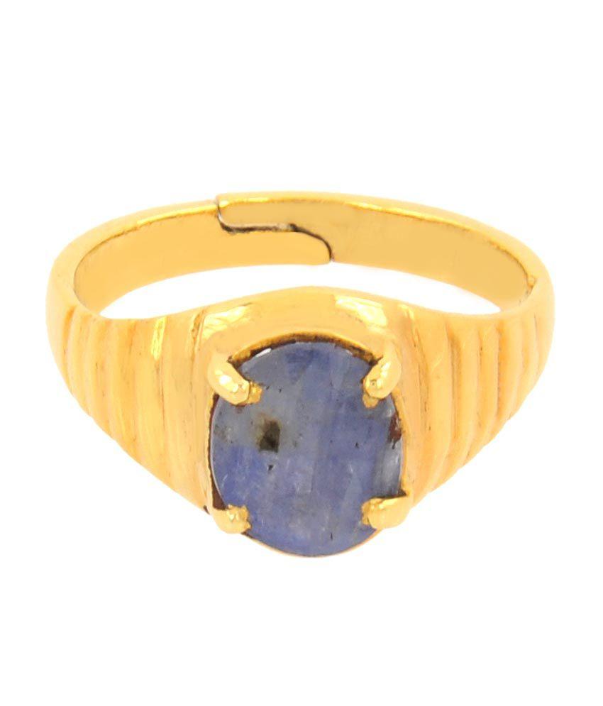 Barishh 4.25 Ratti Blue Sapphire Gemstone Unisex Astrolgical Ring In Panchdhatu