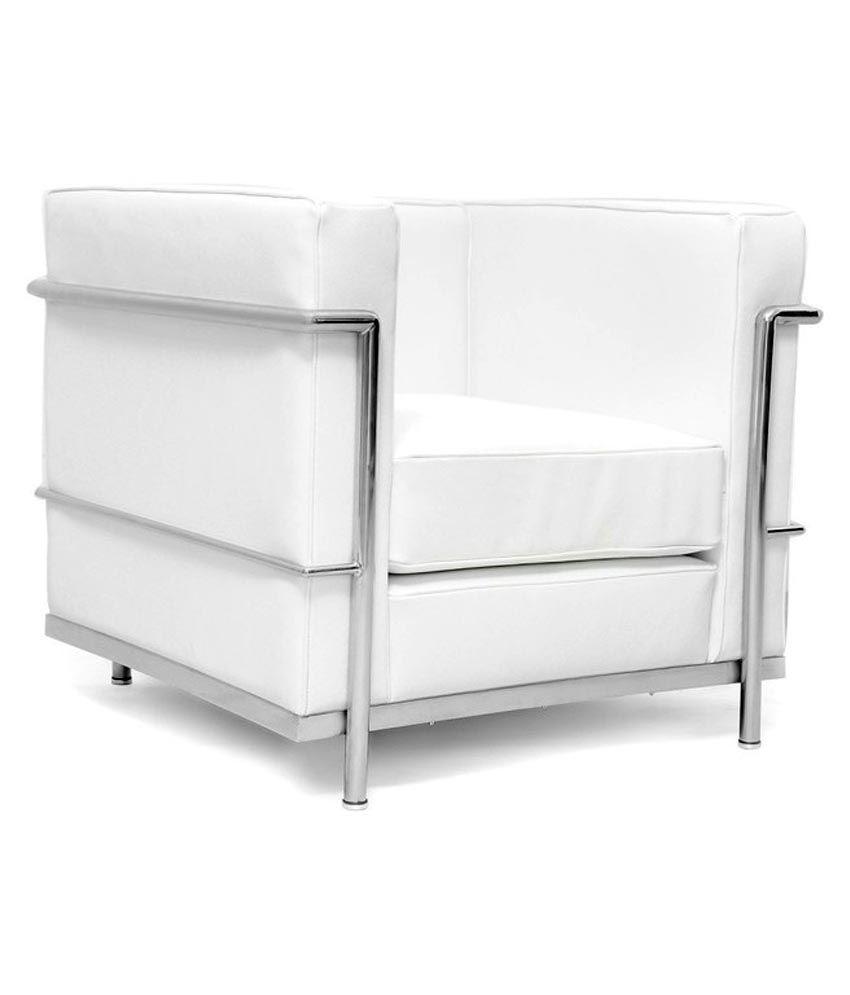Sofa Slipcovers Brisbane: Behome Brisbane White Single Seat Sofa Best Price In India
