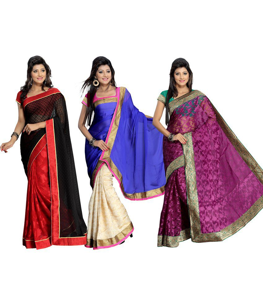 Florence Multicolour Printed Faux Of Saree With Blouse Piece - Pack Of 3