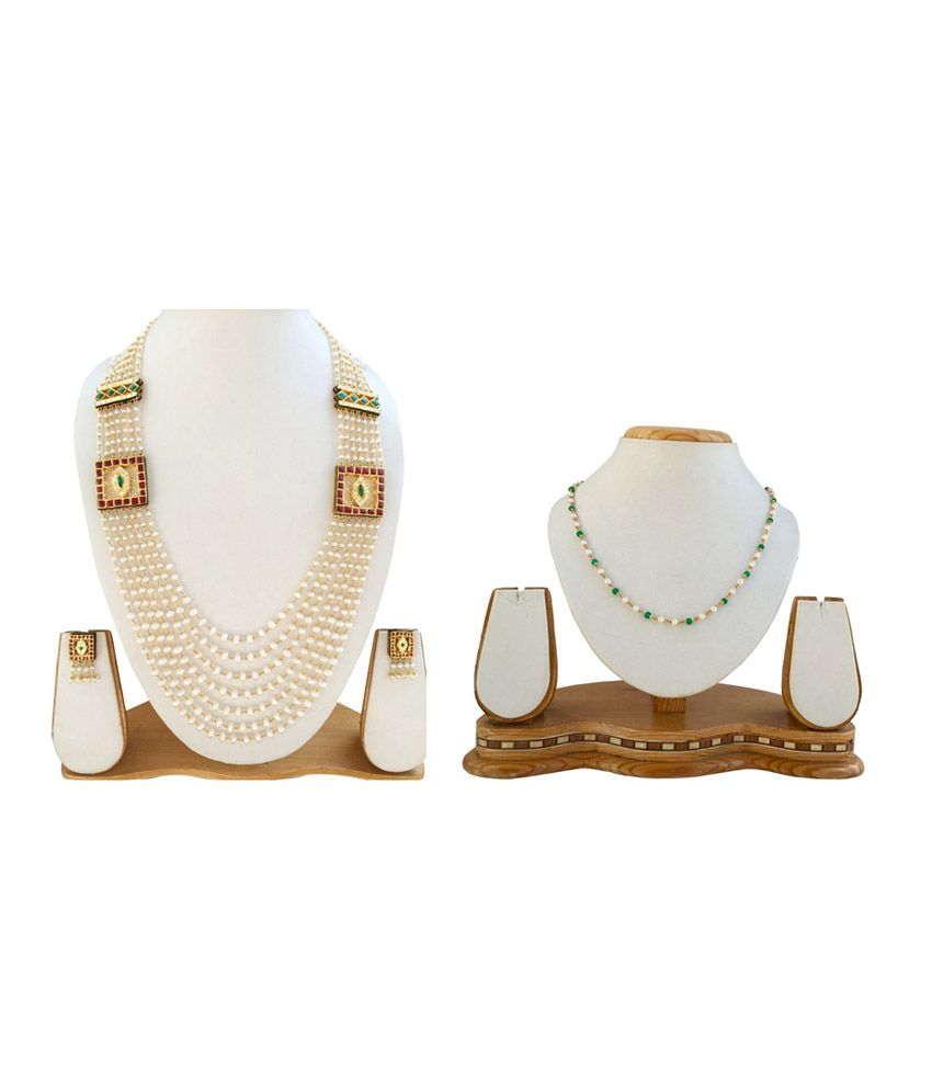 Narayan Jewellers 22kt Multi Line Traditional Pearls Necklace