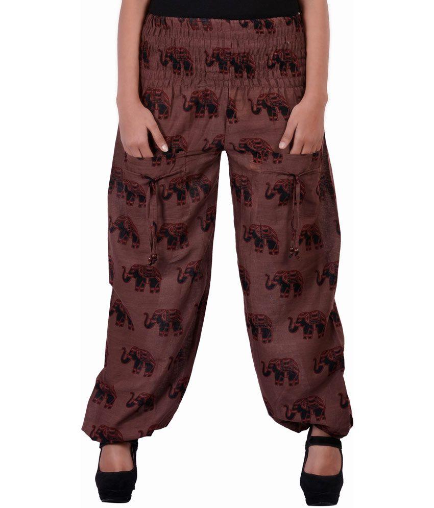Rajasthani Sarees Brown Cotton Printed Long Pajama