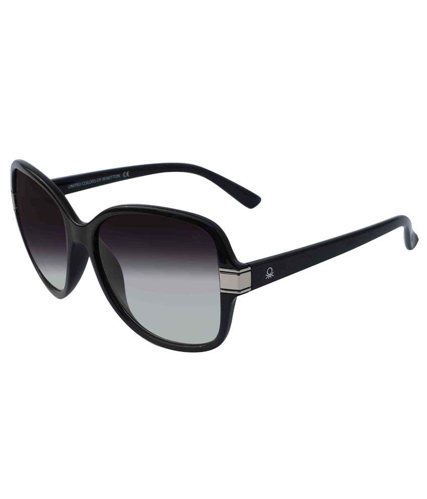 United Colors Of Benetton Designer Bright Black Large Women's Sunglasses