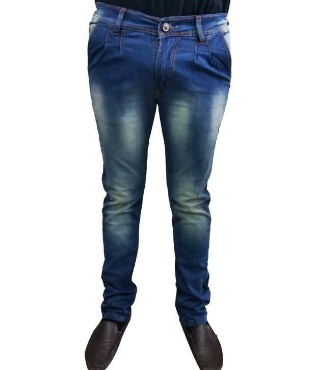 Verceys Blue Cotton Tapered Fit Jeans