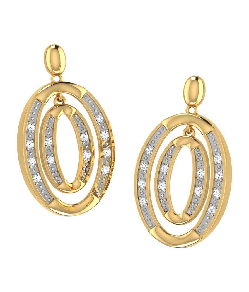 Caratlane Dual Oval Drop Earrings