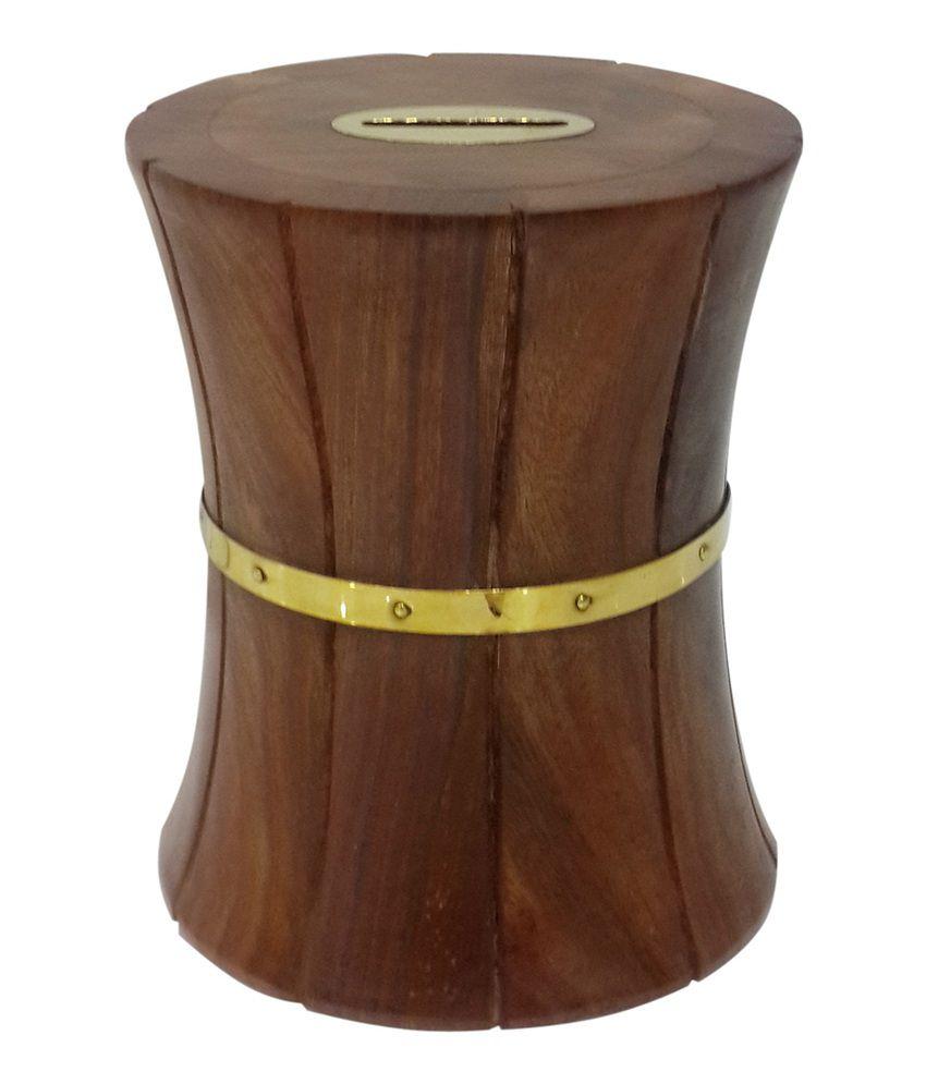 Crafts'man Wooden Money Bank Cum Coin Box Damroo Shape