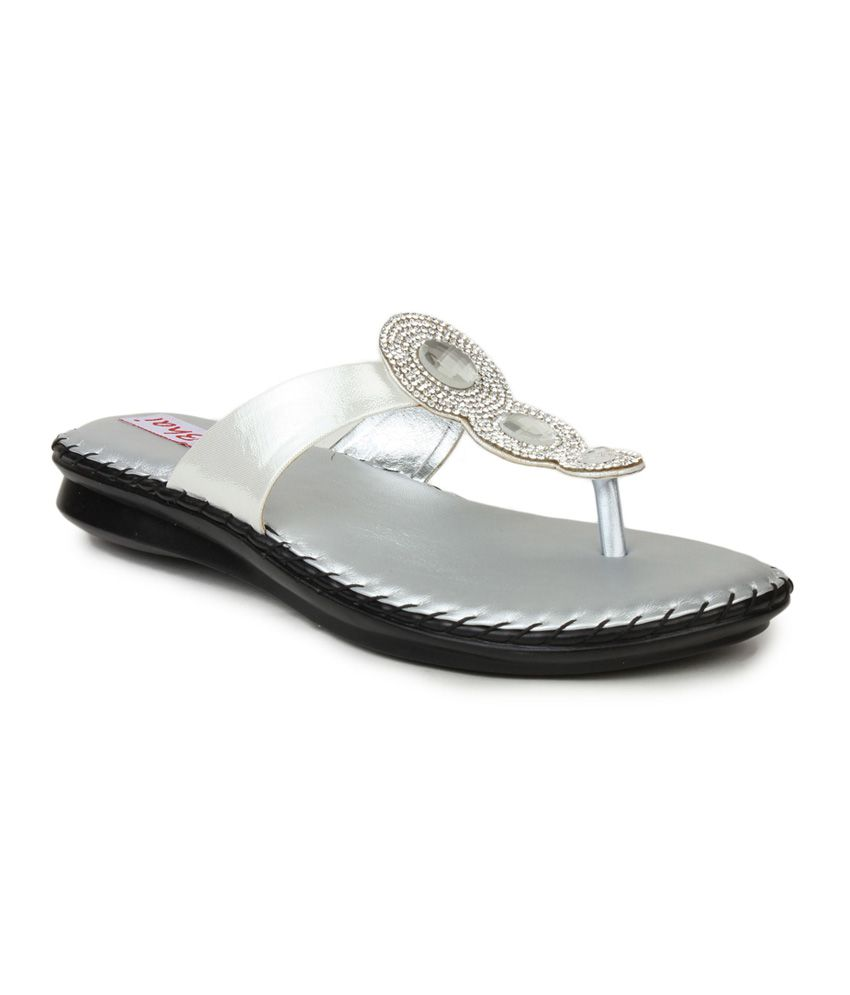 Do Bhai Silver T-strap Patent Flat Sandals